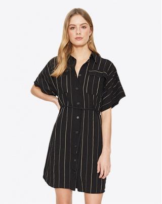 Contour Lines Split Midi Dress